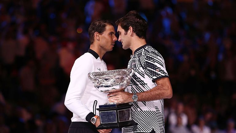 Federer commiserates Nadal after winning the 2017 Australian Open final