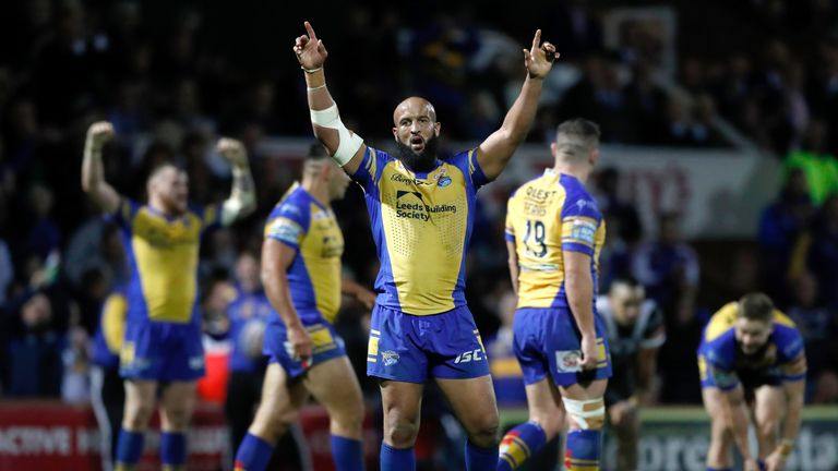 Jamie Jones-Buchanan celebrating Leeds Rhinos' semi-final win over Hull FC