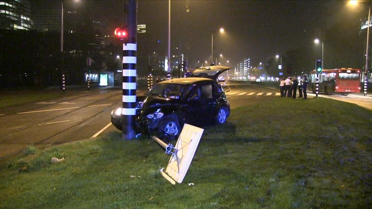 Sergio Aguero was involved in a car crash in the Netherlands (Picture courtesy of AT5.nl)