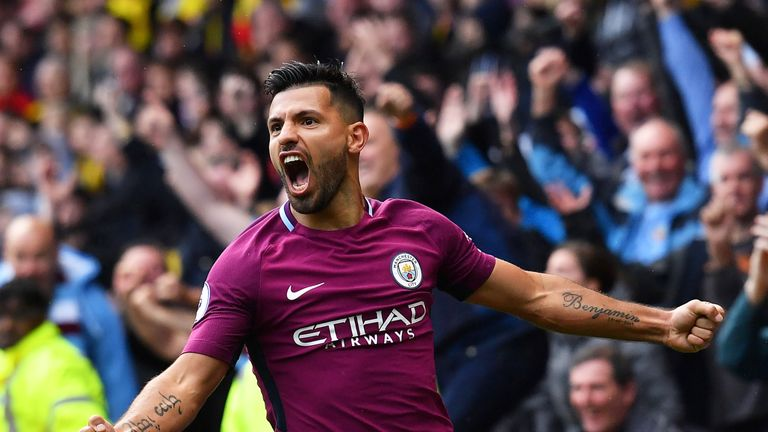 Sergio Aguero celebrates his third goal in Manchester City's 6-0 win at Watford