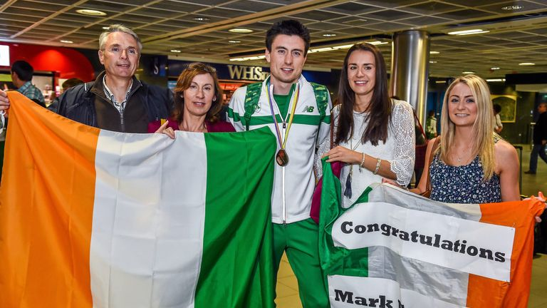 Mark English won his first senior medal in 2014 in front of a very excited family