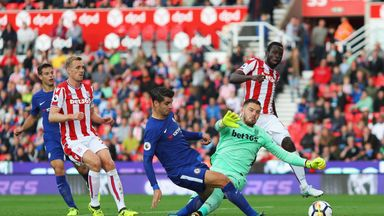Alvaro Morata completes his treble against Stoke