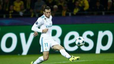 Real Madrid's Gareth Bale scores the opening goal during the UEFA Champions League Group H football match against Borussia Dortmund