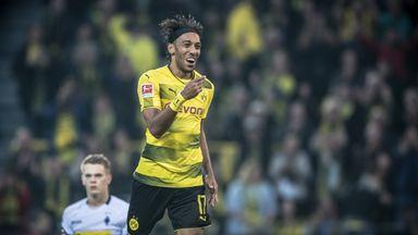 Pierre-Emerick celebrates his hat-trick against Borussia Monchengladbach