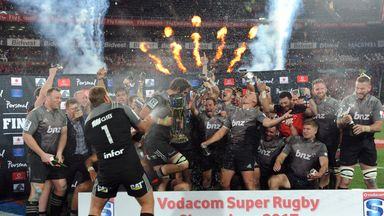Crusaders celebrate their Super Rugby title
