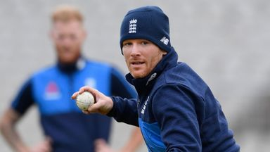 Captain Eoin Morgan goes through his paces in England training