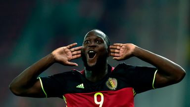 Romelu Lukaku celebrates after his winning goal against Greece