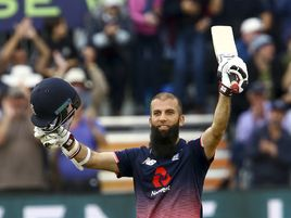 England's Moeen Ali gestures after reaching his century off 53 balls