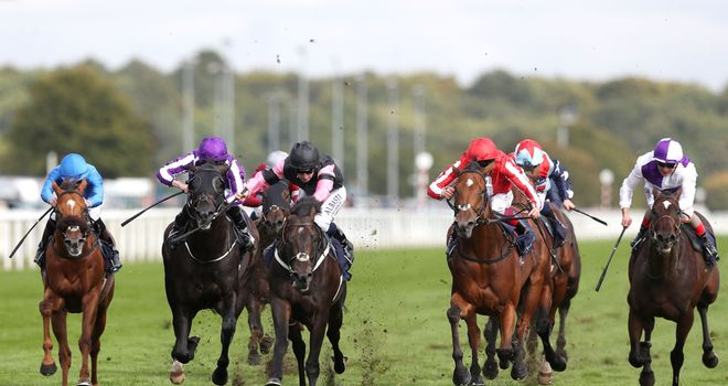 Aclaim (pink sleeves) bursts through to win the Park Stakes