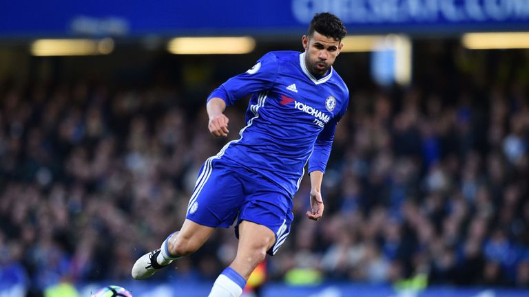 Chelsea's Brazilian-born Spanish striker Diego Costa passes the ball during the English Premier League football match between Chelsea and Southampton at St