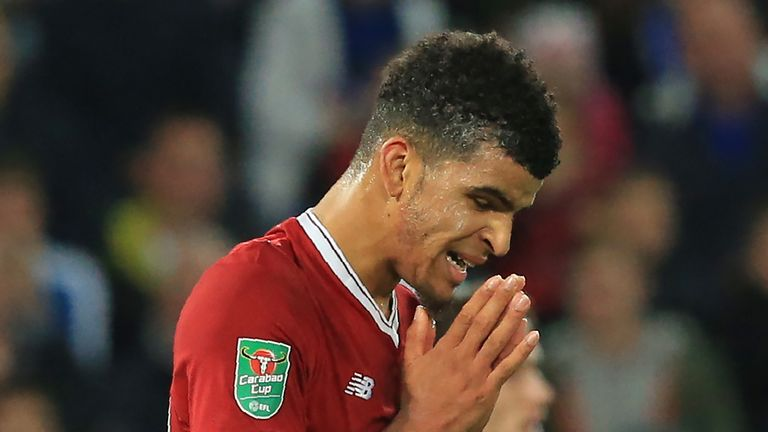 Liverpool's English striker Dominic Solanke reacts after missing a chance during the English League Cup third round football match between Leicester City a