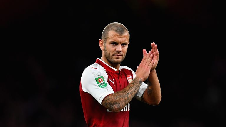 LONDON, ENGLAND - SEPTEMBER 20:  Jack Wilshere of Arsenal shows appreciation to the fans during the Carabao Cup Third Round match between Arsenal and Donca