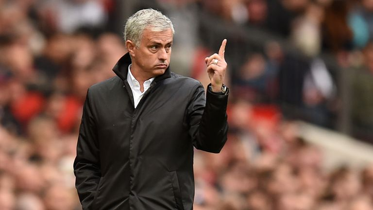 Jose Mourinho gestures on the touchline during the Premier League match between Manchester United and Everton at Old Trafford