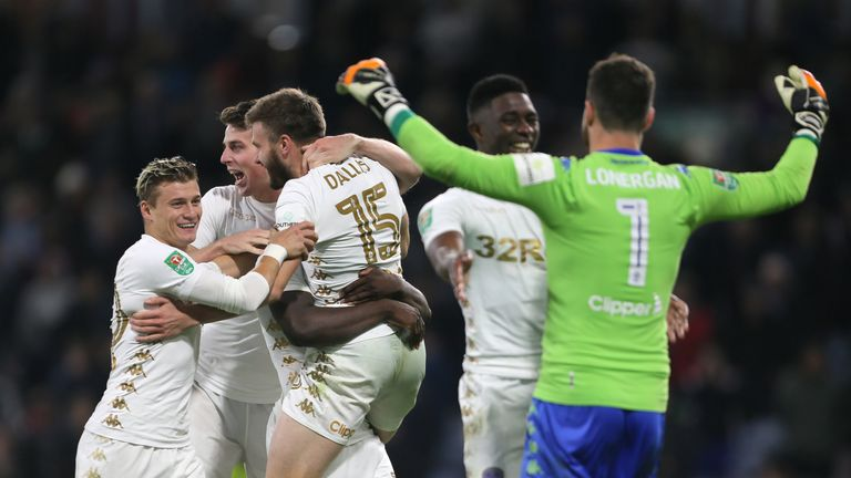 Leeds United's Stuart Dallas (centre) celebrates after the Carabao Cup, third round match at Turf Moor, Burnley