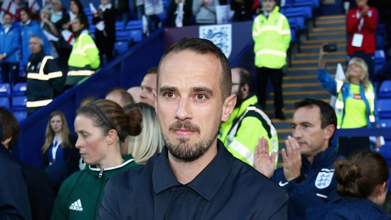 Mark Sampson during the FIFA Women's World Cup Qualifier between England and Russia