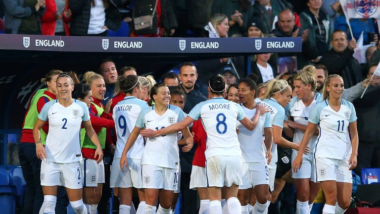 Nikita Parris and her team-mates celebrate with Mark Sampson after scoring the opening goal against Russia