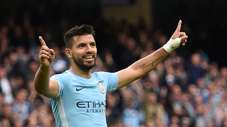 Manchester City's Argentinian striker Sergio Aguero celebrates after scoring their fourth goal during the English Premier League football match between Man