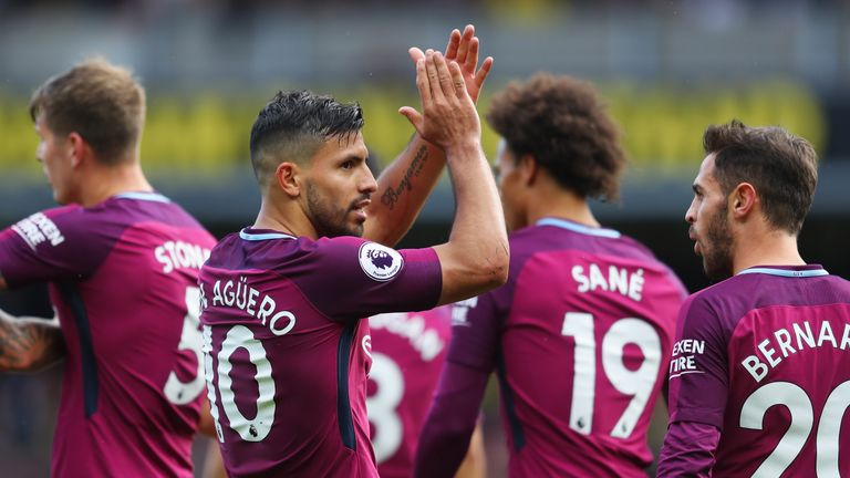 Sergio Aguero completes his hat-trick with Manchester City's fifth goal at Vicarage Road