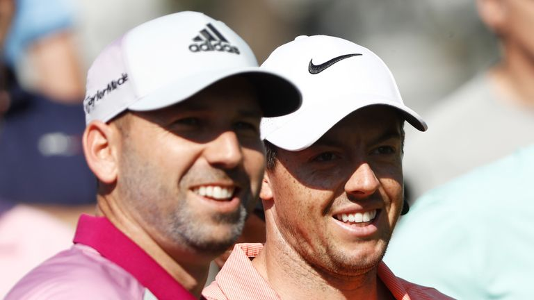 PONTE VEDRA BEACH, FL - MAY 10:  Sergio Garcia of Spain and Rory McIlroy of Northern Ireland look on during a practice round prior to THE PLAYERS Champions