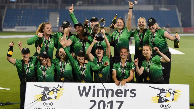 HOVE, ENGLAND - SEPTEMBER 01:  Players of Western Storm celebrates after winning the Women's Kia Super League Final between Southern Vipers and Western Sto