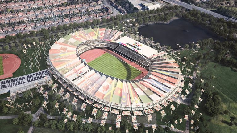 An artist's impression of how the Alexander Stadium in Birmingham would look if the city hosted the Commonwealth Games