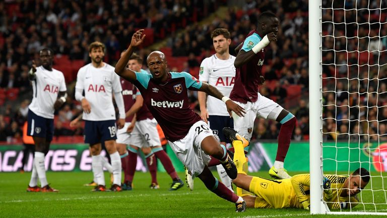 Andre Ayew inspired West Ham to come back from two goals down to beat Tottenham 3-2 in the Carabao Cup in October, one month after Spurs ran out 3-2 winners in the league