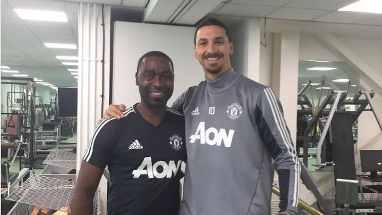 Andy Cole partners Zlatan Ibrahimovic in the gym (credit: Instagram/@andycole09)