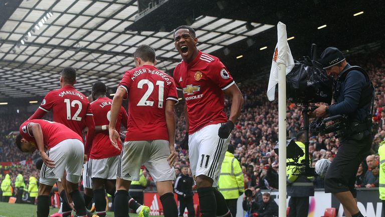 Anthony Martial celebrates scoring against Tottenham