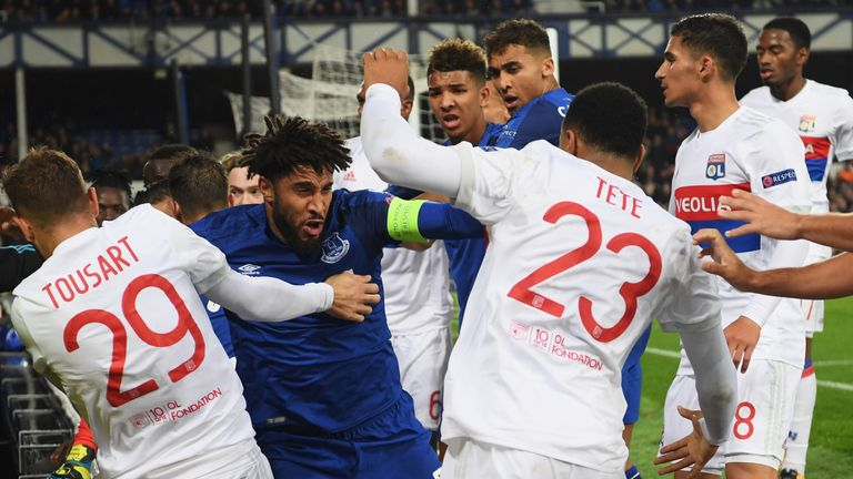 Ashley Williams was at the centre of a brawl during the second half of Everton's clash with Lyon, with keeper Anthony Lopes saying he was struck by a fan