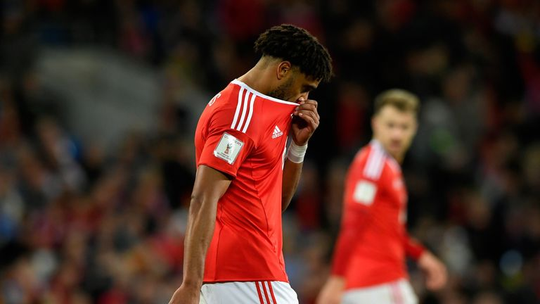Ashley Williams of Wales looks dejected after the defeat to the Republic of Ireland