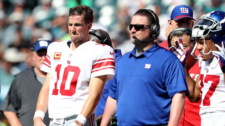 Giants head coach Ben McAdoo (R) is under pressure following his team's winless start