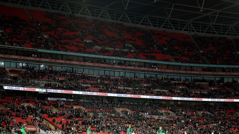 Empty seats could be seen around Wembley for England's World Cup Qualifier against Slovenia