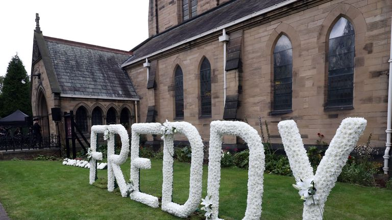 A floral tribute at the funeral service of former Newcastle United chairman Freddy Shepherd, at St George's Church in Jesmond.