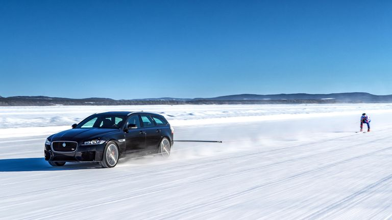Watch Jaguar set new record for towed speed on skis