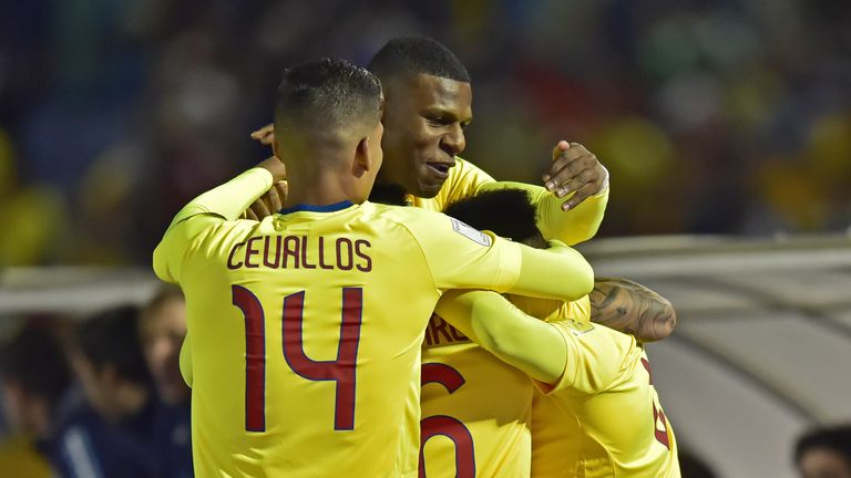 Ecuador's Romario Ibarra (covered) celebrates