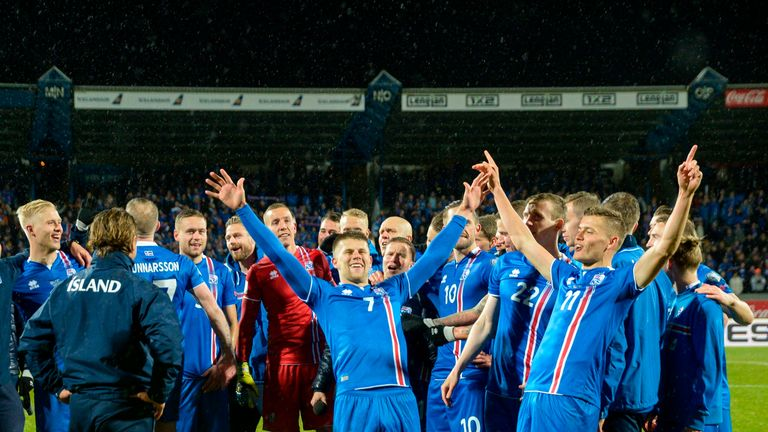 Iceland's players celebrate after reaching the World Cup finals