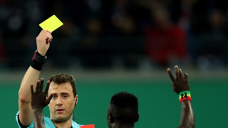 Naby Keita's latest red card came in a German Cup game against Bayern Munich