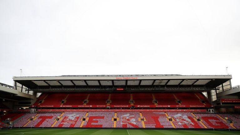 The newly renamed Kenny Dalglish Stand during an opening event at Anfield