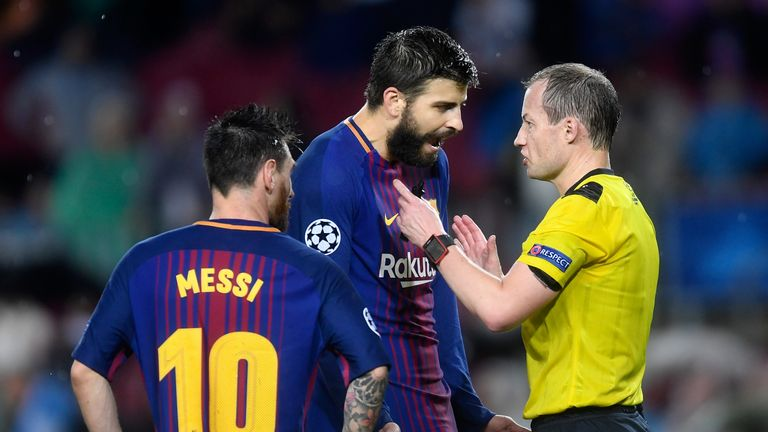 Gerard Pique was sent off three minutes before half-time