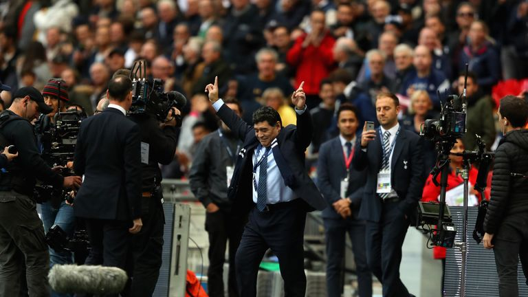 Maradona was welcomed onto the Wembley pitch