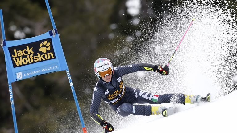 Marta powers down the slope in a World Cup event earlier this year