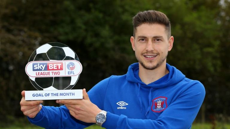 Shaun Miller won the Sky Bet League Two Goal of the Month for September