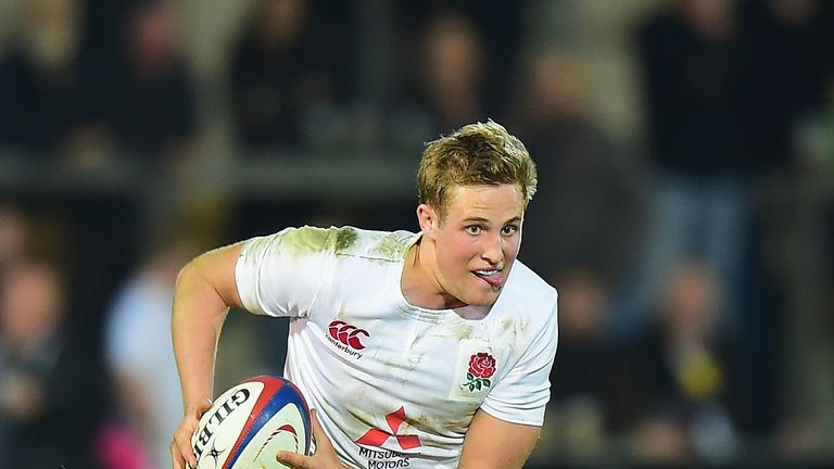 Max Malins  in action for England during the Under 20's Six Nations