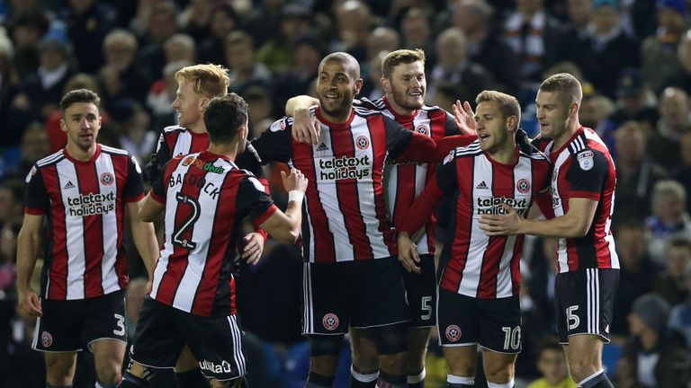 Sheffield United's Billy Sharp (second right) celebrates with team-mates