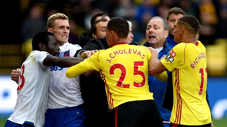 A scuffle between Watford and Stoke City players including Stoke City's Darren Fletcher (second left) and Watford's Jose Holebas