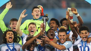 England players celebrate winning the U17 World Cup