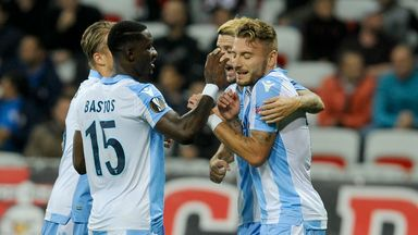 Sergej MIlinkovic Savic celebrates after scoring Lazio's third goal against Nice