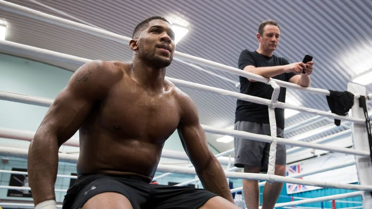 Anthony Joshua media work out in sheffield ahead of his fight for the World Heavyweight Championship against Carlos Takam  in Cardiff on 28th October live