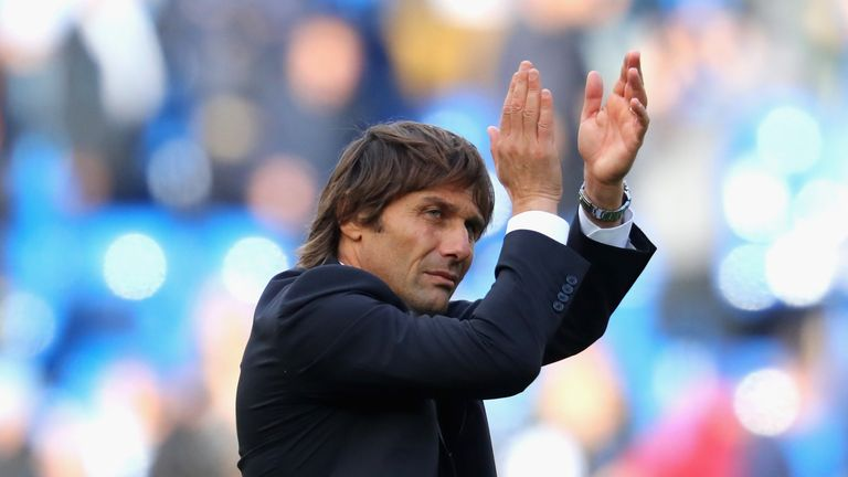 Antonio Conte, Chelsea manager, applauds the home fans after the Premier League match against Watford