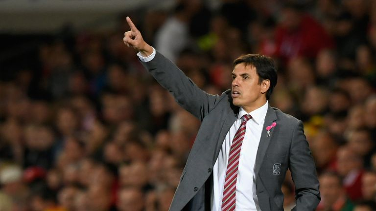 Chris Coleman, Manager of Wales points during the FIFA 2018 World Cup Group D  Qualifier between Wales and Republic of Ireland